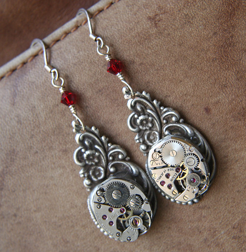 Time On Your Side - Steampunk Earrings With Antique Watch Movement and Swarovski Crystals