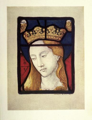027- Detalle- cabeza de Sta Catalina vitral del altar de St. Vincent's  Rouen siglo XV