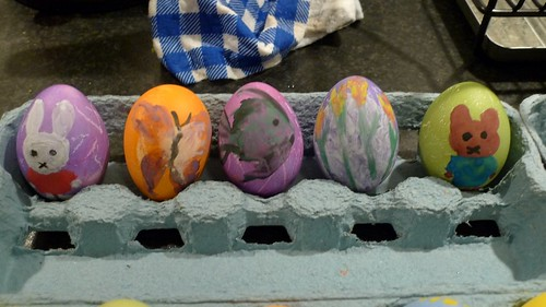 Painted Easter eggs for Harry's work party by you.