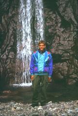 Ravin de la Solitude : Laurent à la cascade de Piscia Vitalba à 1200 m