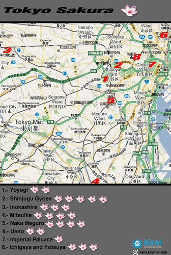 Mapa Sakura Tokyo