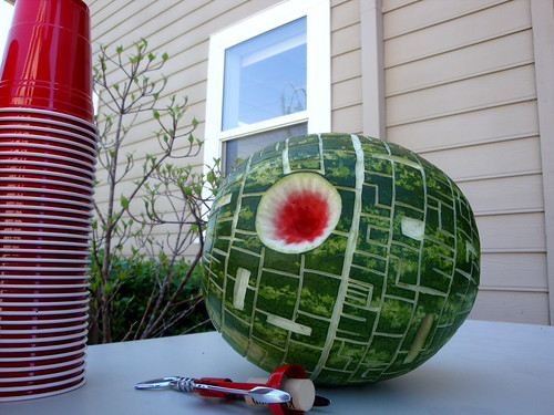 Watermelon carved to look like the Death Star