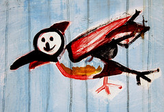 Flyover (alton.tw) Tags: blue red bird art smile fence island graffiti asia taiwan series graffito tainan formosa  alton altonthompson picturesatanexhibition  taiwanphotographers taiwanmussorgskyproject altonsimages