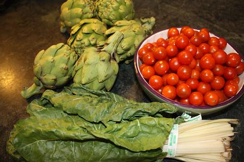 artichokes chard tomatoes