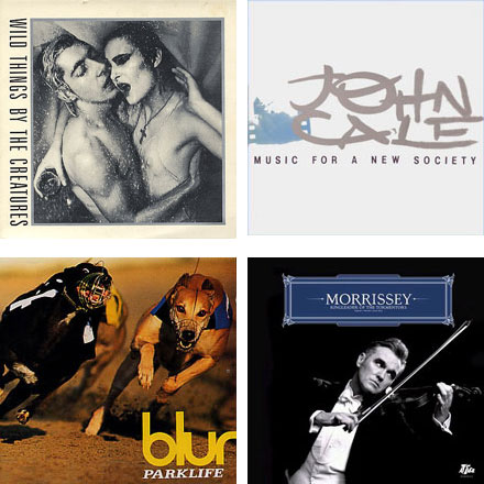 Stylorouge covers (clockwise from top right): Wild Things-Creatures (1981); Music For A New Society-John Cale (1982); Parklife-Blur (1994); Ringleader Of The Tormentors-Morrissey (2006).