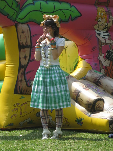 Puff collared shirt, The Emporium (JPN); Green gingham skirt, Tommy Hilfiger; Tights, Stocking Girl; Lace Socks, F21; Gold Glitter Sneakers, Converse