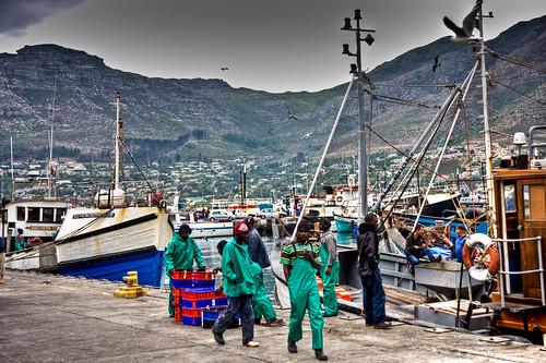 Green-clad fishermen