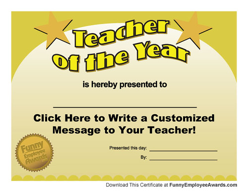Free Teacher of the Year Award