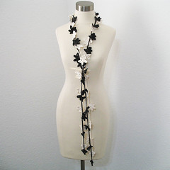 Petite Leaves Garland in Charcoal Ivory (kanokwalee) Tags: white black nature leaves handmade unique crochet gray cream accessories lariat whimsical fiberjewelry fibernecklace