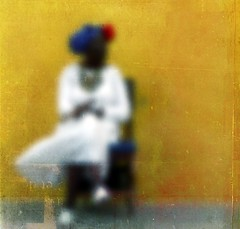 Mute (Michelle Brea) Tags: street blue woman white blur art texture colors yellow photography chair moments artistic havana cuba capture feelings artlibres hourofthesoul michellebrea lesbrumes ilovebwbutsomepicsareamustincolor photodistorzija4