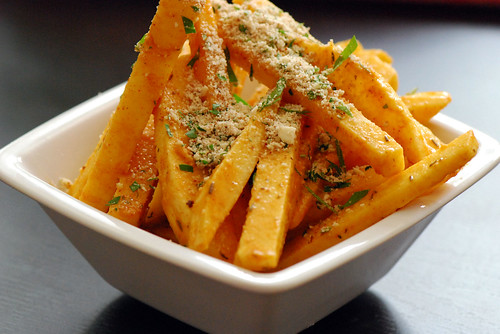 Spicy Jicama Fries: topped with a little almond parmesan and parsley
