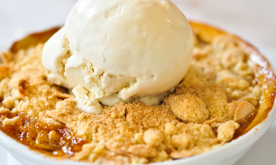 St John: Apricot crumble with Ginger Ice cream