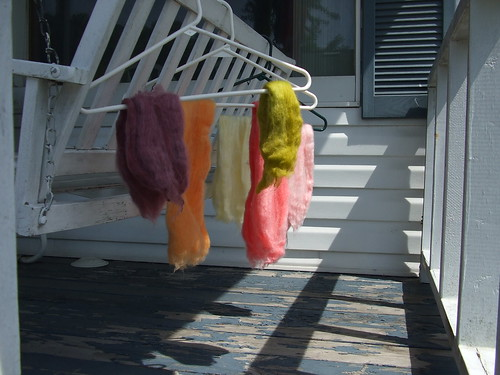 Hand dyed wool drying
