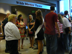 Mrs. Alaska United States and Mrs. Anchorage United States outside the Wilda Marston Theatre near the Assembly chambers