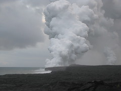 Steam from lava entering the Pacific