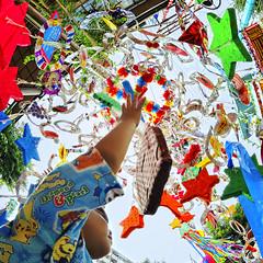 little boy reaching for a big star (ajpscs) Tags: street summer portrait face japan asian japanese star tokyo nikon asia streetphotography fisheye ornaments  nippon   ti vega kanagawa matsuri tanabata hiratsuka fisheyelens  altair d300 105mm natsu   summerfestival  thestarfestival orihime qixi  ajpscs shonanhiratsukatanabatafestival colourartaward hikoboshi   stripsofrainbowcoloredpaper glitteringoddities fancifuldesign eveningoftheseventh