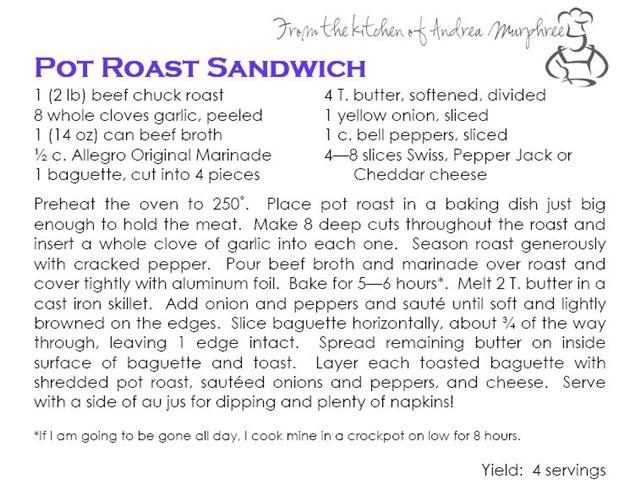 Pot Roast Sandwich Recipe