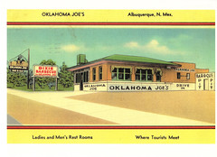 Route 66 Oklahoma Joe's Restaurant Postcard (crayolamom) Tags: usa newmexico vintage advertising restaurant route66 postcard ad albuquerque northamerica reprint