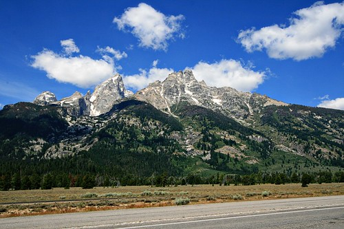 The Grand Tetons, picture taken from Teton Park Road.