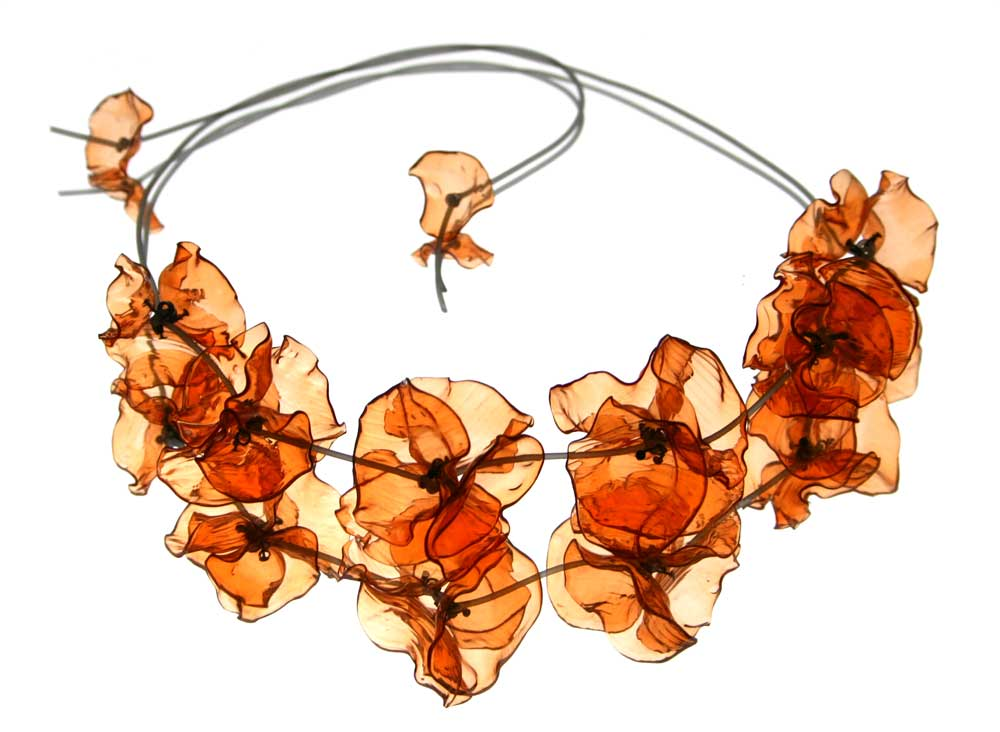 orange peony necklace