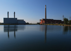 Superficial Beauty (sniderscion) Tags: street morning light chimney urban lake plant toronto ontario canada reflection industry nature wet water station scott landscape nikon industrial power harbour canadian smokestack snider hearn portlands commissioners d80 flickrgolfclub sniderscion