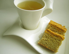 chamomile tea & cornbread (cake) (allergy-gluten-free) (Jen's Photography) Tags: autumn stilllife food fall cake pumpkin recipe dessert illinois corn nikon tea harvard cook eat thrift snack coolpix pointandshoot thriftstore cornbread secondhand herbaltea edible bake yardsale fleamarket 2009 garagesale chamomile glutenfree milkfree ricemilk chamomiletea corncake soyfree allergyfree jensphotography earthbalancesoylessmargarine