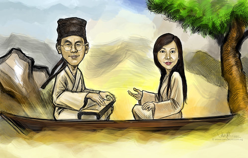 couple digital caricature sketch of playing Gu Zheng (古筝)