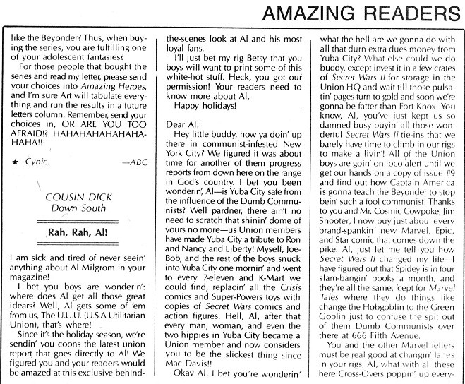 Amazing Heroes 86 letter from Cousin Dick lampooning Secret Wars II, 1985
