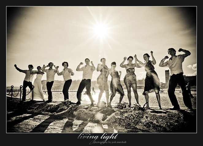 Crazy bridal party antics at Newcastle Baths.