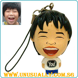 Custom Caricature Mini Big Head Phone Dangler Doll (White)