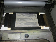 Linoleum Cutting Tools Print #2 Block on Press
