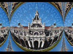 Dunedin Train Station (New Zealand) (Lyle58) Tags: abstract geometric circle symmetry zen harmony reflective symmetrical balance circular kaleidoscopic