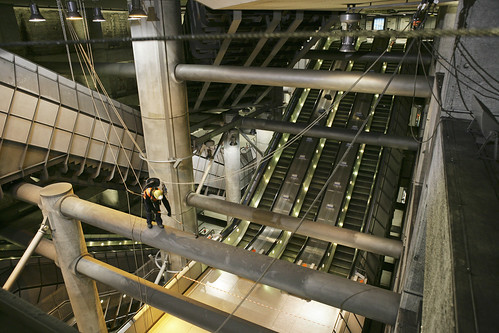 Specialists abseil through Westminster Tube station
