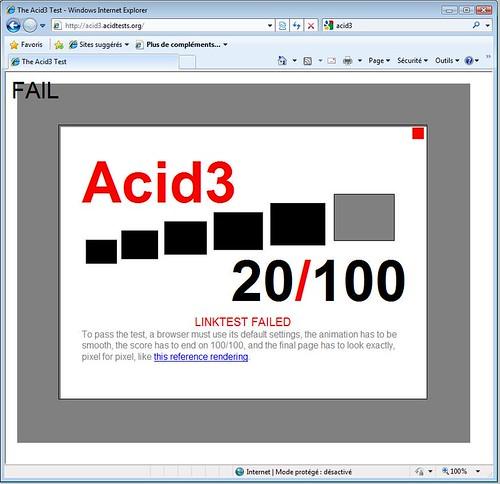 AcidTest 3 : Internet Explorer 8. => 20/100 !! FAIL