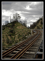 (Michalis.. [..]) Tags: bridge sky clouds train fire dof hellas greece burnt rails tripoli arkadia peloponese  megalopoli              anemodouri