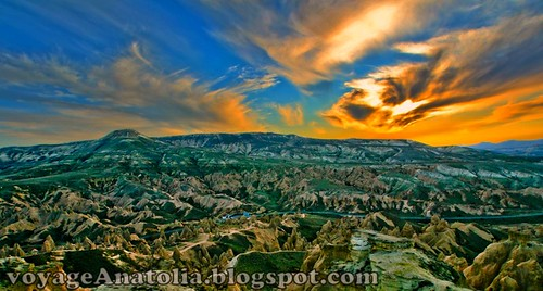 Sunset over Cappadocia Rock Sites by voyageAnatolia
