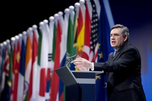 Prime Minister Gordon Brown addresses the worlds media