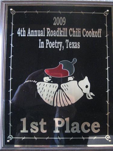 Roadkill Chili Cookoff Plaque