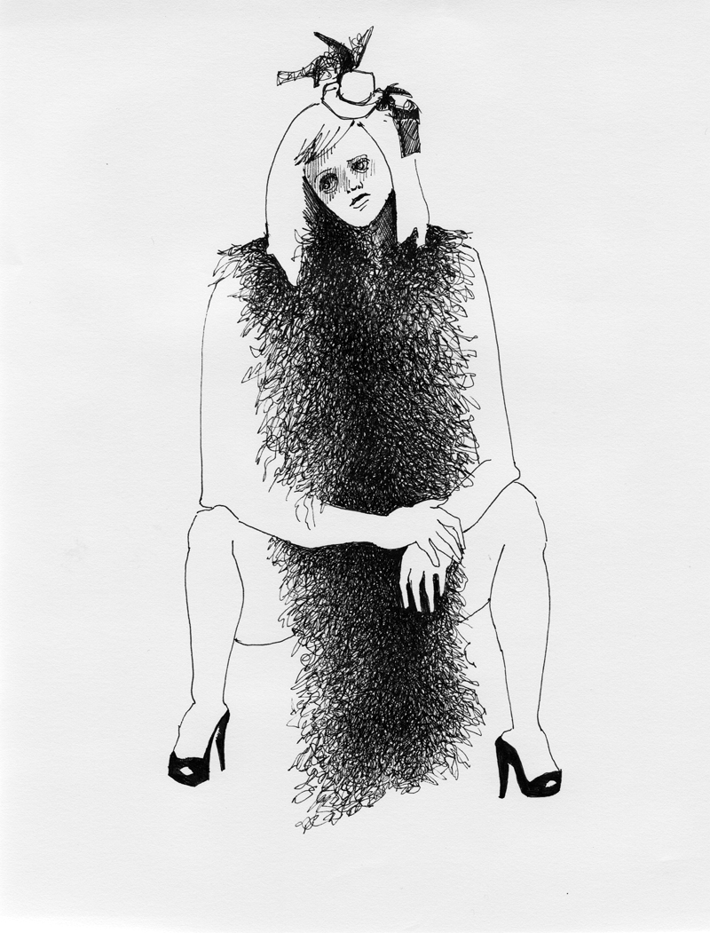 Merry in a Feather Boa, ink on paper, 2009 by Sarah Atlee.