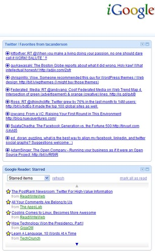 Twitter GReader Starred items in iGoogle