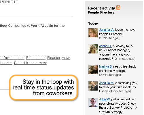 Stay in the loop with real-time status updates from coworkers