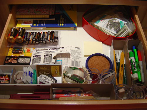 Junk Drawer Organized With Temp Containers