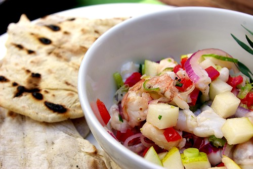 ... scallop, shrimp, sea bass, pear and tarragon ceviche with grilled