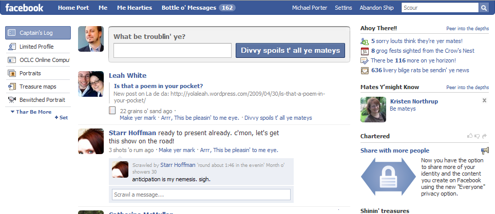 Pirate facebook Interface