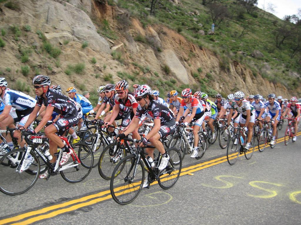 2009 Amgen Tour of California 186 The Peloton moving up Mount Palomar - Oscar Sevilla - Kestrel Bikes