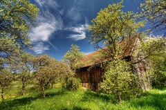 Country Retreat (@richlewis) Tags: trees sky clouds barn canon germany landscape deutschland eos shed gimp orchard hidden hut naturereserve daydream hdr herrenberg photomatix sigma1020mmf456exdchsm 450d