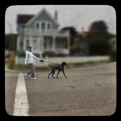 Dog Walker (Steven Hight) Tags: monterrey foggyday walkingthedog ttv kodakduaflexiii thelittledoglaughed hourofthesoul stevenhight
