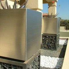 Cubedec A1 Stainless Steel planters with charcoal powder coated gabion plinth by Badec Bros deco (Badec Bros Deco) Tags: sculpture art outdoor designer cut steel indoor pots products decor deco bros range screens stainless lazer gabions badec cubedec