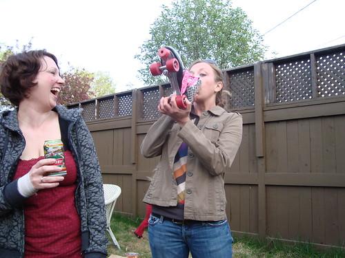 mmm beer in the rollerskate