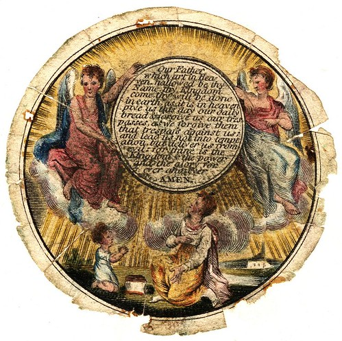 Watchpaper; printed in colour with three angels surrounding a circular cartouche on which is written the Lord's Prayer (about 1818)